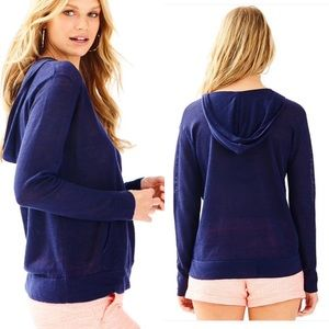 Lilly Pulitzer Medina Navy Linen Hooded Sweatshirt